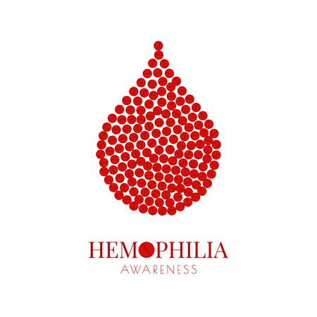 Hemophilia poster with pills drop isolated on plain background. Vektorové ilustrace
