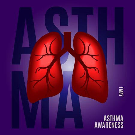 Asthma awareness poster with lungs on blue background. Bronchial disease symbol.