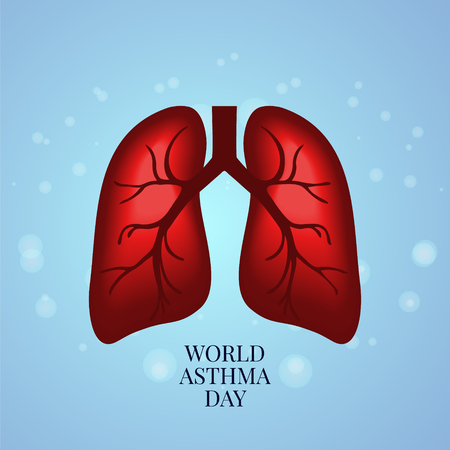 Asthma awareness poster with lungs on bubble textured blue background. Vectores