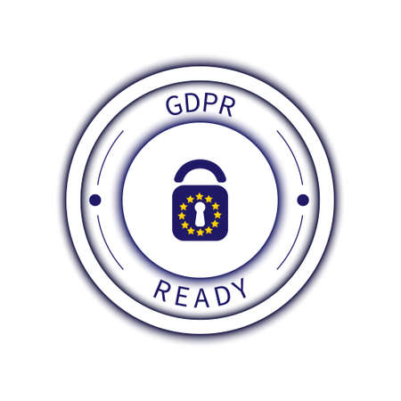 GDPR badge poster made with padlock and star symbols on white background. Illustration