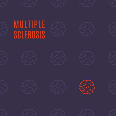 Multiple sclerosis brain poster illustration.