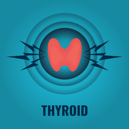 Thyroid gland in a pain target Ilustracja