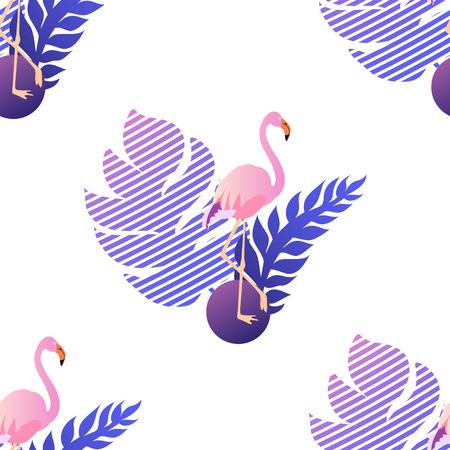Tropic flamingo seamless pattern
