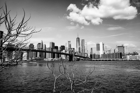 Brooklyn bridge with New York City skyline panoramic spring view in black and white. Lower Manhattan downtown scenery from Brooklyn Bridge Park riverbank in Dumbo district, NYC, USA.