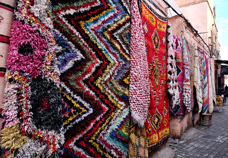 Berber carpets on display in Marrakech, Morocco.