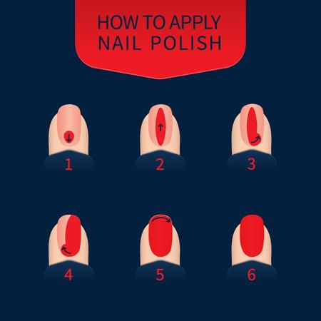 Infografía de técnica de aplicación de esmalte de uñas. 6 pasos de pintura de uñas. Uñas rojas sobre fondo azul. Concepto de belleza de manicura profesional. Ilustración vectorial.