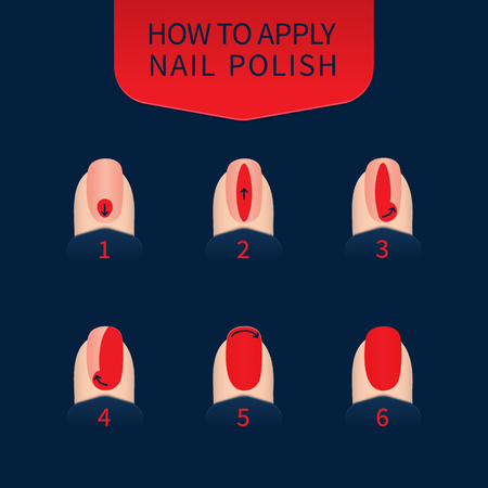 Nail polish application technique infographics. 6 steps of nail painting. Red fingernails on blue background. Professional manicure beauty concept. Vector illustration. Ilustração