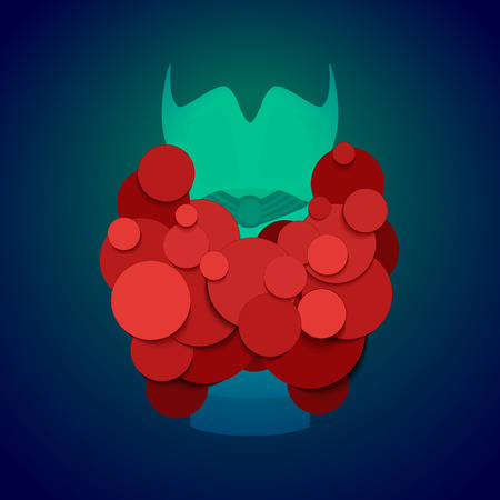 Thyroid gland front view on blue background. Human body organs anatomy icon. Thyroid diagram scheme sign. Medical concept. Isolated vector illustration. Vector Illustration