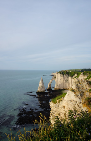 Panoramic view of Etretat cliffs at sunset, France