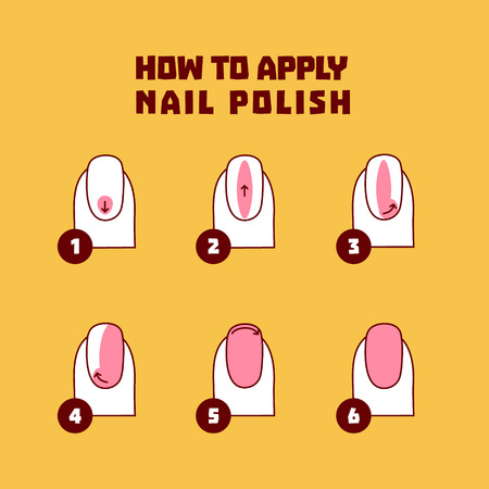 Nail polish application technique infographics in cartoon style. 6 steps of nail painting. Fingernails on yellow background. Professional manicure beauty concept. Vector illustration.