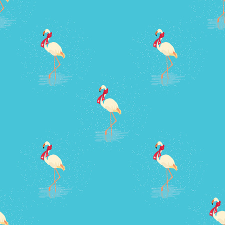Seamless pattern of white flamingo in a red scarf standing in water on one leg in winter. Vector illustration of exotic bird on blue background. Wildlife concept.