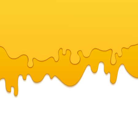 Set of melting dripping honey drops on white background made in paper cut style. Isolated vector illustration.