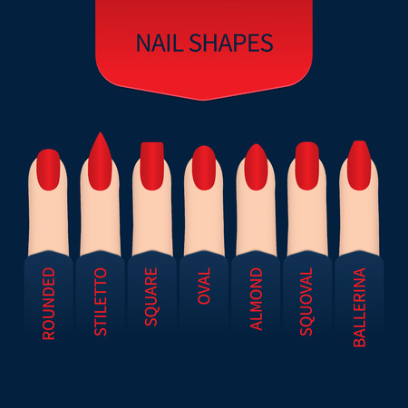 Set of nail shapes on blue background. Fingernails of different form with red nail polish. Professional manicure beauty concept. Vector illustration. Illustration