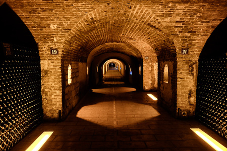 Wine cellar of an old champagne winery in Epernay