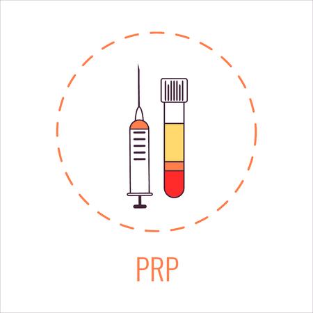 Equipo de laboratorio de plasma rico en plaquetas con una jeringa y un tubo de sangre para inyecciones faciales, tratamiento de lesiones y pérdida de cabello, cirugía de pie y tobillo. Ilustración de vector.