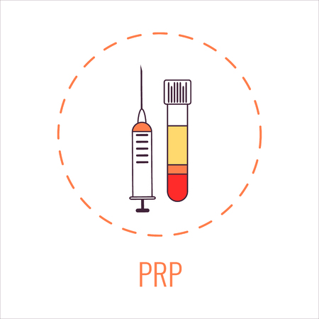 Platelet rich plasma laboratory equipment kit with a syringe and a blood tube for face injections, hair loss and injury treatment, foot and ankle surgery. Vector illustration.
