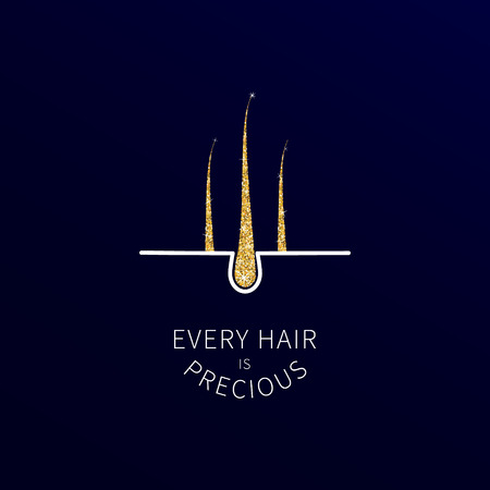 Hair follicles in gold as symbol of hair care 向量圖像