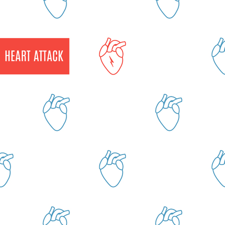 Heart attack icon patterned poster on white