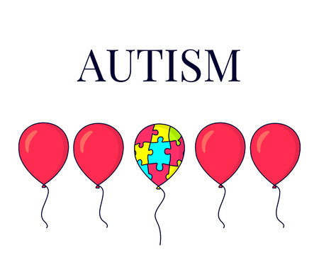Autism awareness poster with a set of red balloons and one colorful balloon made of puzzle pieces. Social interaction and communication disorder. Support symbol. Medical concept. Vector illustration.