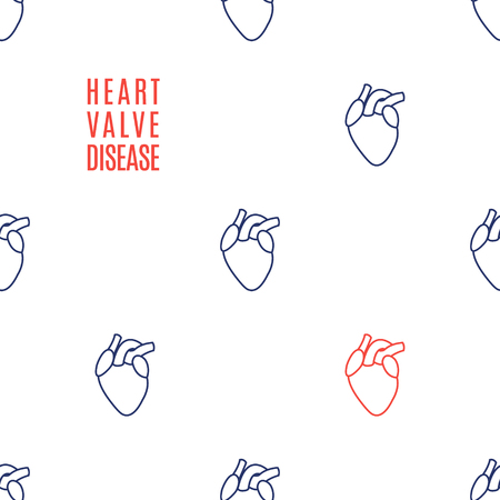 Heart valve disease awareness icon patterned poster