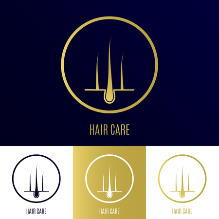 Icono de folículo piloso establecido como símbolo del cuidado del cabello