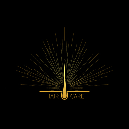 Hair follicle icon with burst light rays in gold as symbol of hair care Vettoriali