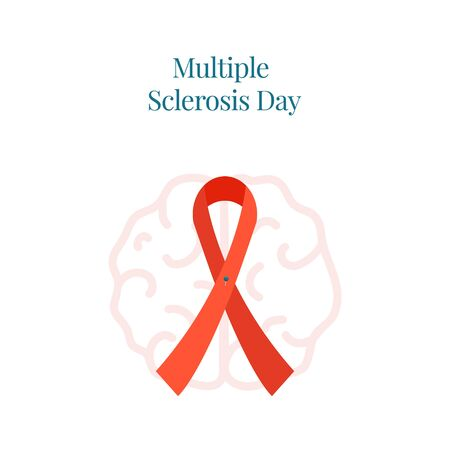 Multiple sclerosis poster  with a ribbon and brain icon