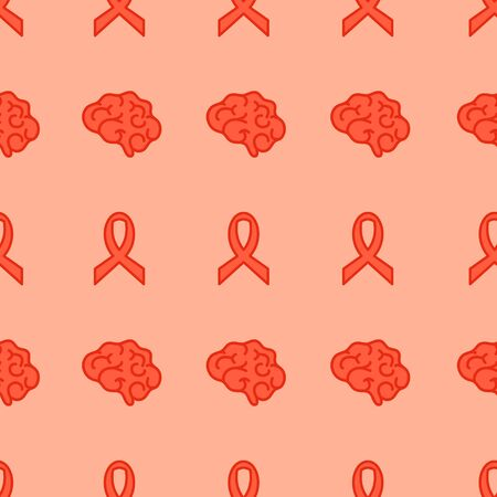 Multiple sclerosis seamless pattern poster with a ribbon and a brain icon