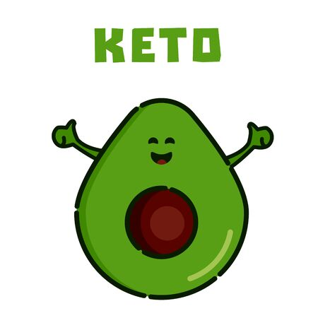 Avocado cartoon character as symbol of Keto. Ketogenic diet for weight loss and treatment. High-fat, low-carbohydrate intake concept. Medical poster for health magazines. Ilustrace