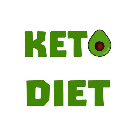Keto diet word health poster with avocado