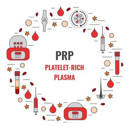Platelet-rich plasma treatment medical poster in linear style Vector Illustration