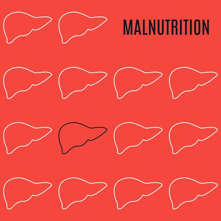 Malnutrition liver icon patterned poster in linear style