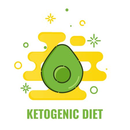 Ketogenic diet poster of avocado cut in half Vektoros illusztráció