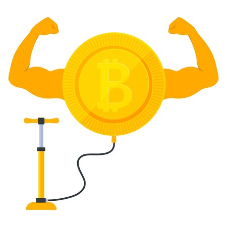Strong bitcoin cryptocurrency showing big muscles. Inflating the coin by the pump on the stock market. Increase of the value of the digital gold. Blockchain and mining sign.Vector cartoon illustration Ilustrace