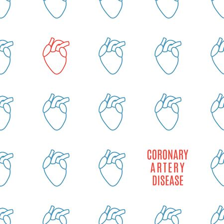 Coronary artery heart icon patterned poster in linear style