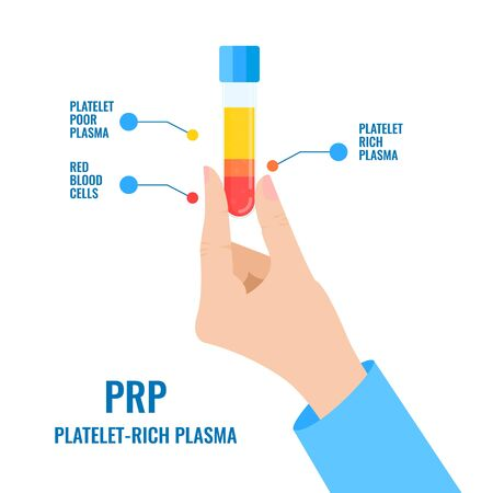 PRP blood structure infographics template with a tube in doctors hand