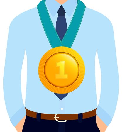 Businessman wearing a gold medal for best employee of the year. Closeup of a star performer medallion honouring career achievements. Competition and victory concept. Cartoon vector illustration.