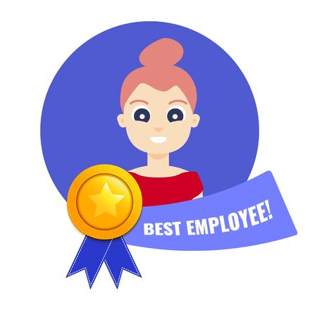 Gold medal for best employee of the month with woman portrait and a ribbon. Star performer medallion honouring hard work and top achievements in business. Cartoon vector illustration.