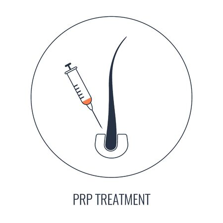 PRP hair loss treatment poster with a follicle and a syringe Ilustrace