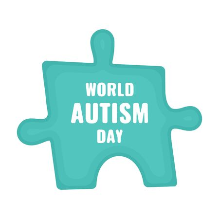 Autism disorder awareness poster of a jigsaw puzzle piece on white background. Solidarity and support vector illustration. Healthcare and medical concept.