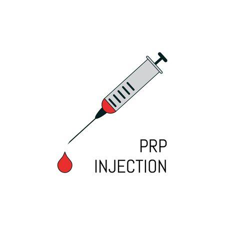 PRP-Injektionsposter im Linienstil. Spritzensymbol mit einem Blutstropfen. Konzept der regenerativen Medizin mit plättchenreichem Plasma. Vektor-Illustration.