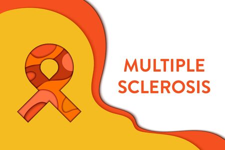 Multiple sclerosis awareness poster. Orange ribbon made in 3D paper cut and craft style on white background. Central nervous system disease. Medical concept. Vector illustration.
