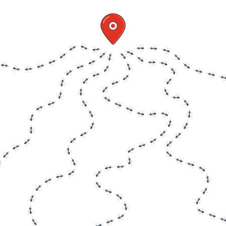 Ants colony path route banner with main location pin