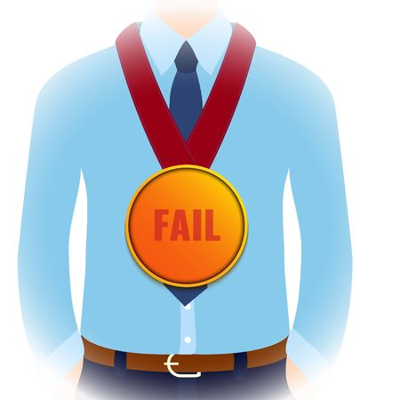 Gold medal fail award for the worst performance in business. Startup failure, loss of profit and bankruptcy concept. Trophy for poor management. Cartoon vector illustration.