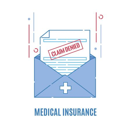 Medical insurance claim form with a rejection stamp