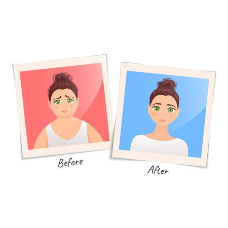 Cartoon illustration of two photographs of a woman before and after weight loss. Transformation to perfect body. Successful diet and beauty concept.