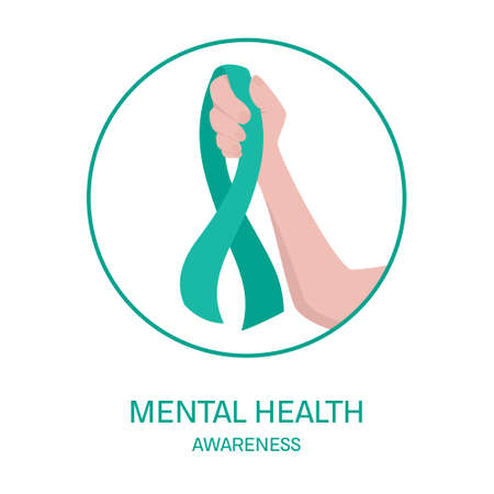 Mental health awareness poster. Green ribbon in a hand on white background. Support people struggling with mental health issues concept. Vector illustration. Illustration