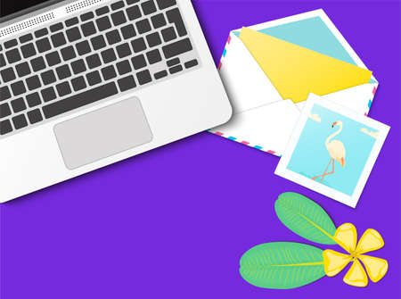 Workplace desktop vector mock up set with office supplies on purple background. Flat lay top view on realistic laptop, flamingo photo, envelope, flowers. Blog header. Home office, freelance concept. 矢量图像