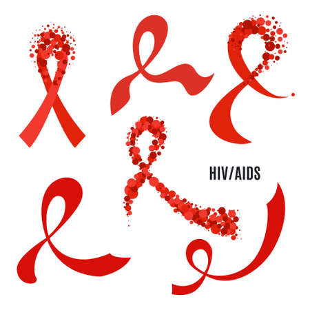 HIV AIDS awareness ribbon collection set. Red bows for support and solidarity concept. Symbol of acquired immune deficiency syndrome. Medical vector illustration. Illustration