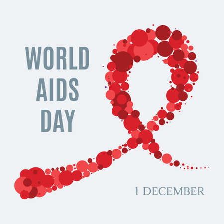 World AIDS Day awareness poster. Red ribbon made of dots on white background. Symbol of acquired immune deficiency syndrome. Medical concept. Circle design elements. Vector illustration. Vector Illustration